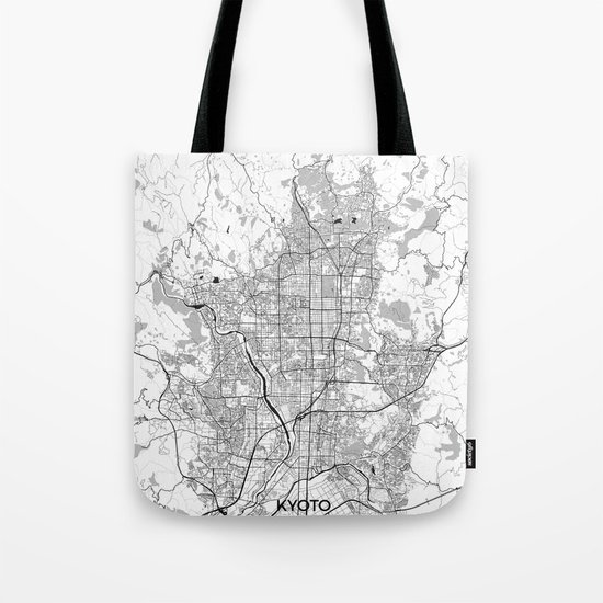 Kyoto Map Gray Tote Bag