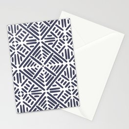 Ethnic, Geometric, Boho Art, in Navy and White Stationery Cards