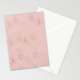 Gold Leaves and Pineapples on Pink Stationery Cards