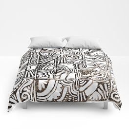 Geometrical black gold marble hand painted floral tribal Comforters