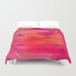 """""""Abstract brushstrokes in pastel pinks and solar orange"""" Duvet Cover"""