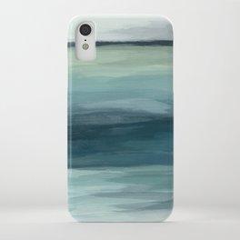 Seafoam Green Mint Navy Blue Abstract Ocean Art Painting iPhone Case