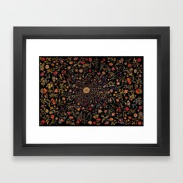 Medieval Flowers on Black Framed Art Print