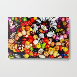 A Pile Of Colorful Decorative Beads Metal Print