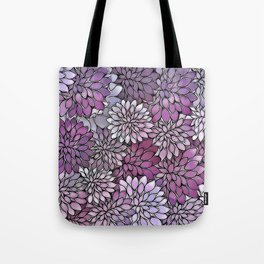 Stain Glass Floral Abstract - Purple-Lavender Tote Bag