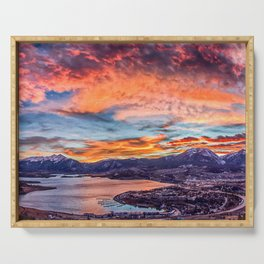 Sunset Pano // Beautiful Rocky Mountain Lake View Colorado Red Orange Sky Serving Tray