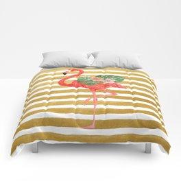 Flamingo Watercolor Art Golden Stripes Comforters