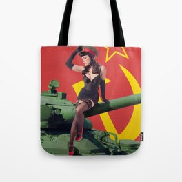 """Sovietsky by Land"" - The Playful Pinup - Russian Tank Pin-up Girl by Maxwell H. Johnson Tote Bag"