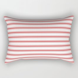 Mattress Ticking Wide Striped Pattern in Red and White Rectangular Pillow