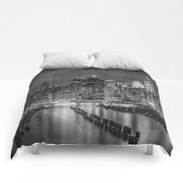 NEW YORK CITY Monochrome Night Impressions   Panoramic Comforters