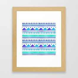 Seamless watercolor geometric pattern in native american style. Boho design Framed Art Print