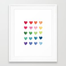 Watercolour hearts Framed Art Print