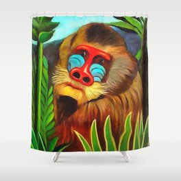 Henri Rousseau Mandrill In The Jungle Shower Curtain