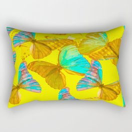 Butterflies - turquoise wings - yellow background #Society6 #buyart Rectangular Pillow