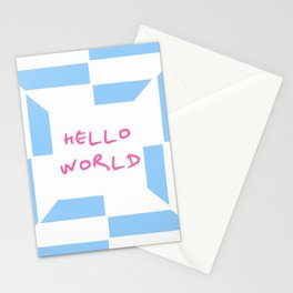 hello world 4 blue Stationery Cards