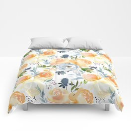 Blush gray orange watercolor hand painted floral Comforters
