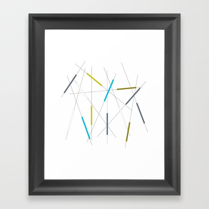 Criss cross blue, green & gray Framed Art Print