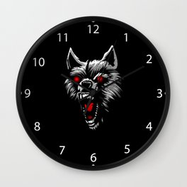 Angry wolf head red eyes Wall Clock