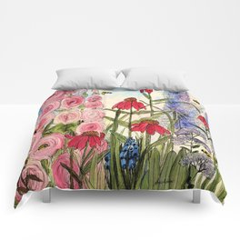 Cottage Garden Flower Whimsical Acrylic Painting Comforters
