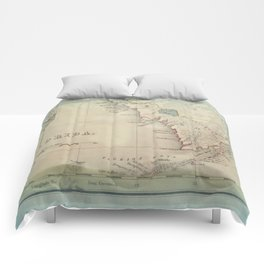 Antique Florida Keys Map Comforters