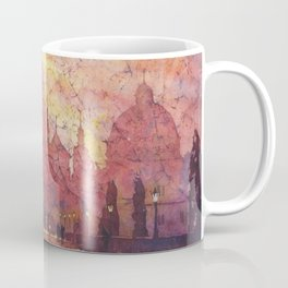 Watercolor painting of statues on Charles Bridge in medieval city of Prague- Czech Republic. Coffee Mug
