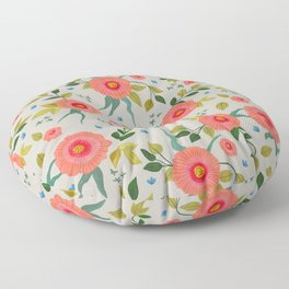 Pink Poppies On Grey background, illustration, tossed flowers Floor Pillow