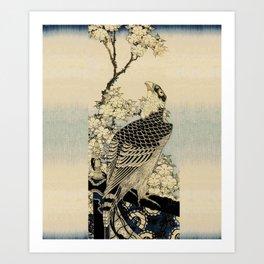 Hokusai -falcon next to a plum tree in bloom - 葛飾 北斎,hawk,bird. Art Print