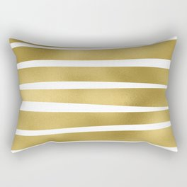 Simply Luxury Gold unequal glitter stripes on clear white - horizontal  pattern Rectangular Pillow