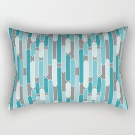 Modern Tabs in Coastal Turquoise Blues on Charcoal Rectangular Pillow