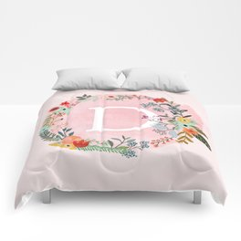 Flower Wreath with Personalized Monogram Initial Letter D on Pink Watercolor Paper Texture Artwork Comforters