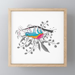 Happy Spring Sloth Framed Mini Art Print