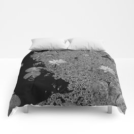 Black and White Lily Pond Comforters