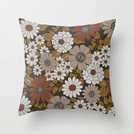 Brown, Orange, and Ivory Retro Flower Pattern Throw Pillow