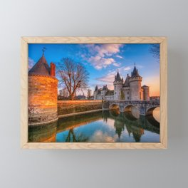 Sully sur Loire at sunset, Loire valley, France. Framed Mini Art Print