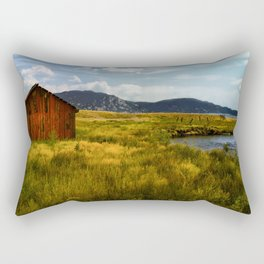 Fly Fishing The Dream Stream Alongside a Red Barn in Colorado Rectangular Pillow