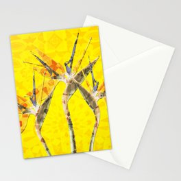 Morocco Oriental Flower Mosaic Heliconia yellow Stationery Cards