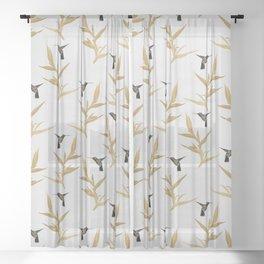 Hummingbird & Flower II Sheer Curtain