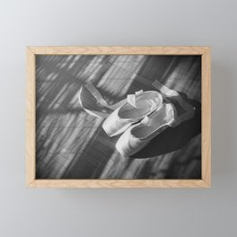 Ballet dance shoes. Black and White version. Framed Mini Art Print