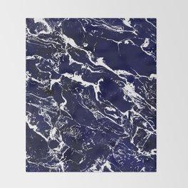 Modern Navy blue watercolor marble pattern Throw Blanket