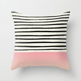 Blush x Stripes Throw Pillow
