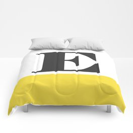 Monogram Letter E-Pantone-Buttercup Comforters