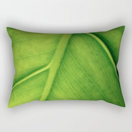 Macro photo of green leaf. Concept nature and ecology. Rectangular Pillow