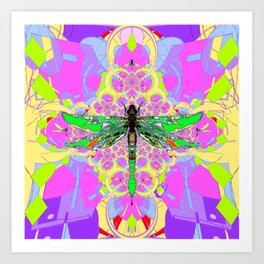 Emerald Green Dragonfly Pink Abstract Art Print