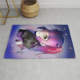 Enchantress witch with purple hair and a black cat Rug