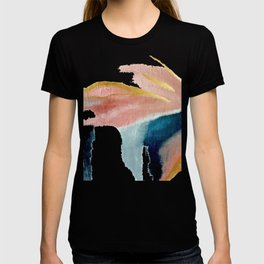 Exhale: a pretty, minimal, acrylic piece in pinks, blues, and gold T-shirt