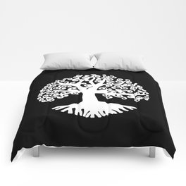 black and white abstract tree of life II Comforters