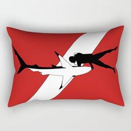 DIVER DOWN - blue shark dive Rectangular Pillow