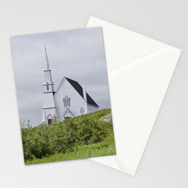 white church on a cloudy day Stationery Cards
