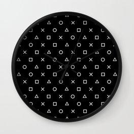 Gamer Pattern (White on Black) Wall Clock