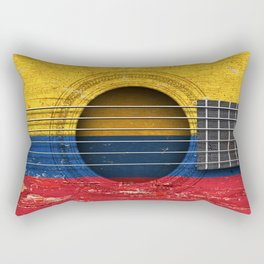 Old Vintage Acoustic Guitar with Colombian Flag Rectangular Pillow